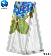 LIULANZHI 2019 floral print silk satin fabric guangzhou african wax satin fabric cheap sales nigeria silk wax fabric NLL20-43 blinded satin silk skirt shirt lined with matte fabric