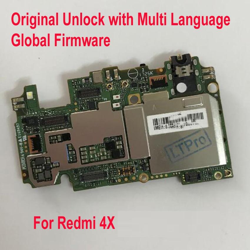 Original Multi-Language Unlock Mainboard For Xiaomi Hongmi Redmi 4X Global FirmWare MotherBoard Circuits Fee Flex Cable