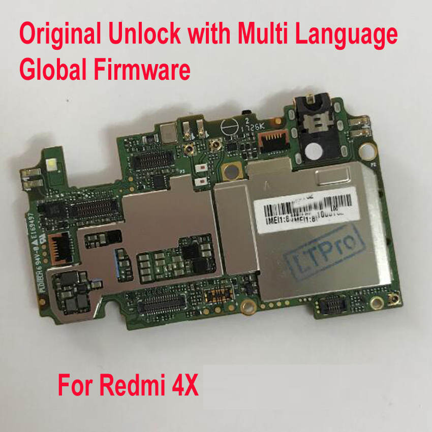 Original Multi-Language Unlock Mainboard For Xiaomi Hongmi Redmi 4X Global FirmWare MotherBoard Circuits Fee Flex Cable