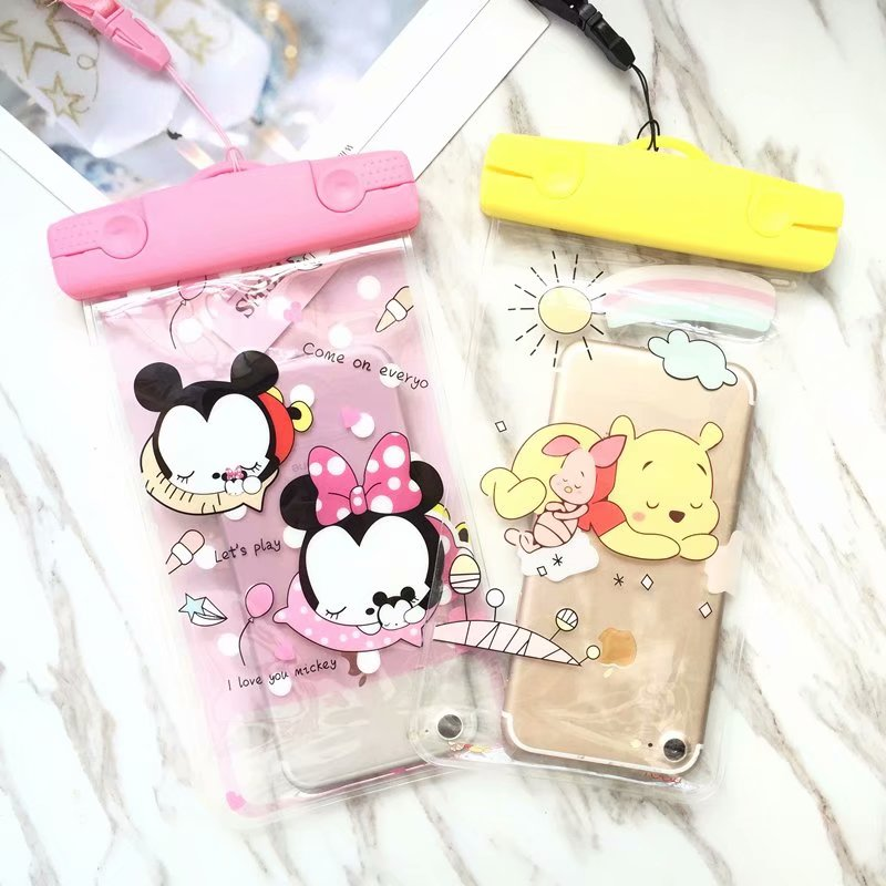 Mermaid Mickey Minnie SUP Waterproof Mobile Bags with Strap Dry Pouch Cases Cover for iPhone X 7 8P Samsung S9 S8 Snowproof Case winnie the pooh iphone case