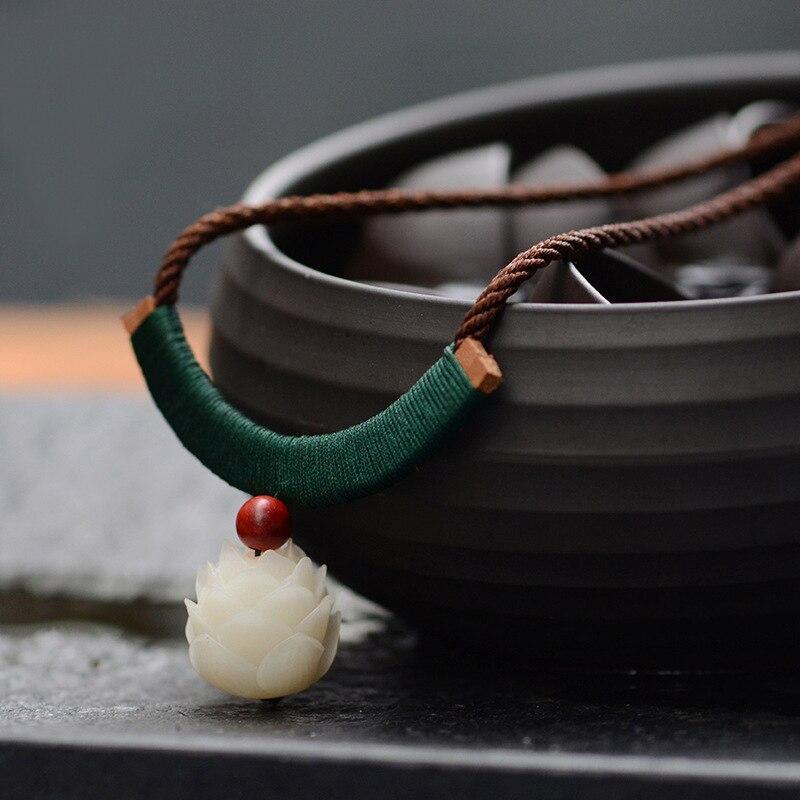 Nuevo grabado Bodhi Lotus collar étnico, moda Raja Kayu collar vintage, hecho a mano trenzado collar Aventurina colgantes