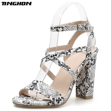 TINGHON Sexy Serpentine Gladiator Sandals High Heels Fashion Women Open toe Cross-tied Sandals Pumps Shoes Size 35-40 women gladiator sandals cross tied open toe high heels pumps cut outs serpentine lace up sandals party wedding sexy ladies shoes