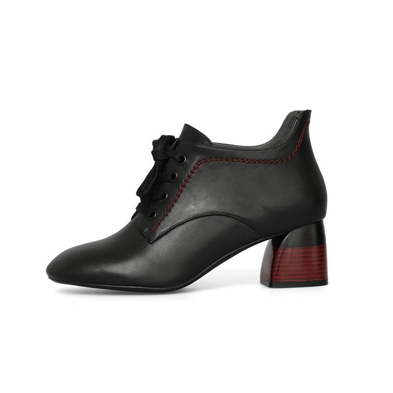 Bottines De Noir Épais black Causal Lacets Talons Femmes Femme 34 Enmayer Hauts Bottes Mode Pointu Beige Taille Chaussures À Cr1146 39 Bout Beige XuPikZ