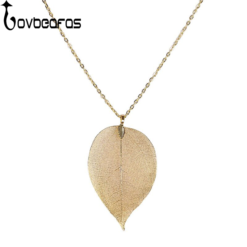 Fashion gold leaf pendant necklace women