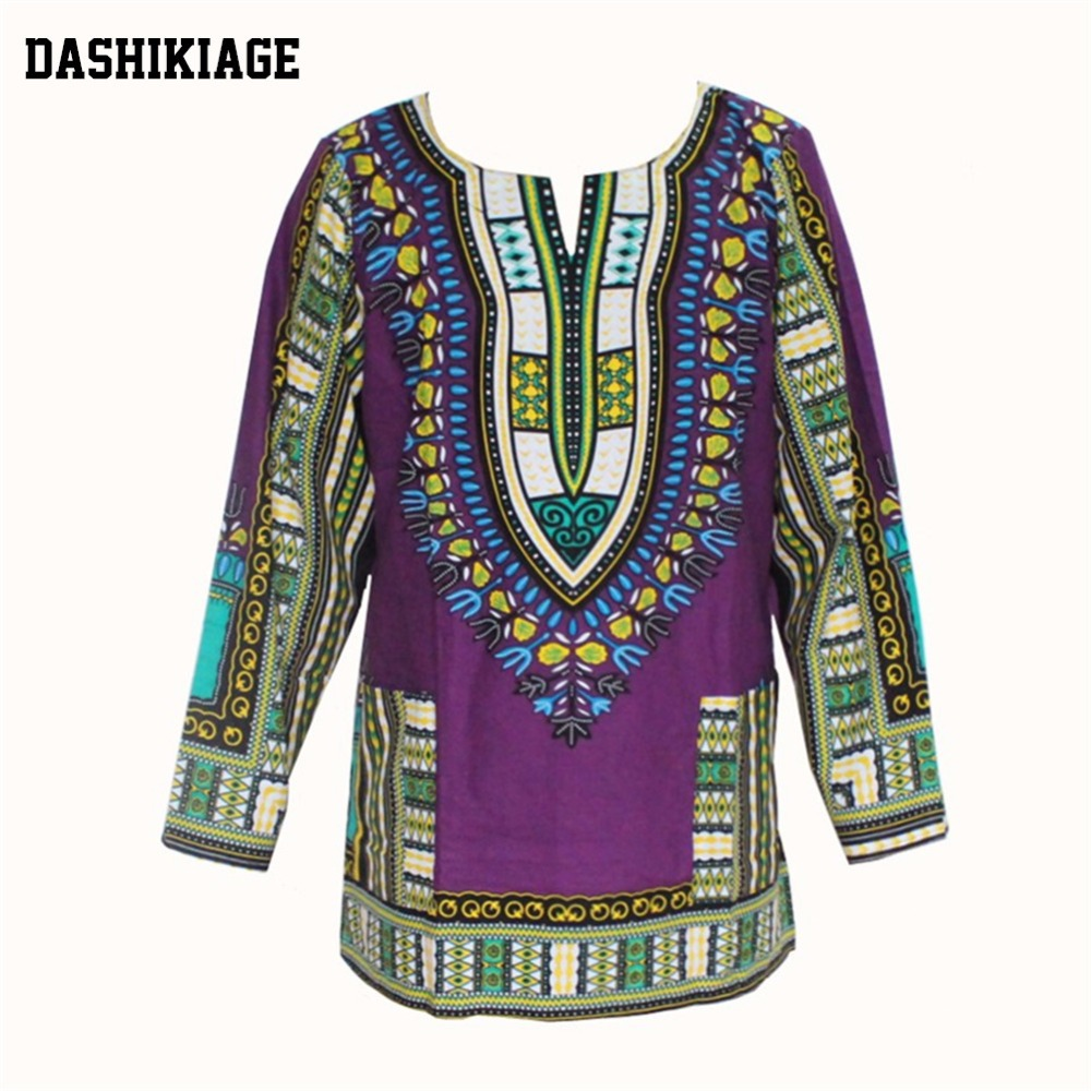 (3pcs/lot) Dashikiage 100% Cotton T-shirt Unisex Long-Sleeve Dashiki Caftan African Kaftan Abaya Dashiki