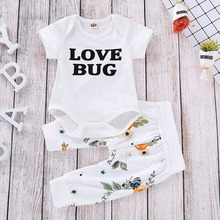 Baby Boys Girls Clothes Set 2PC Snow White Love Bug Letter Print Short-Sleeved+Shirt Pants Kids Valentines Suit