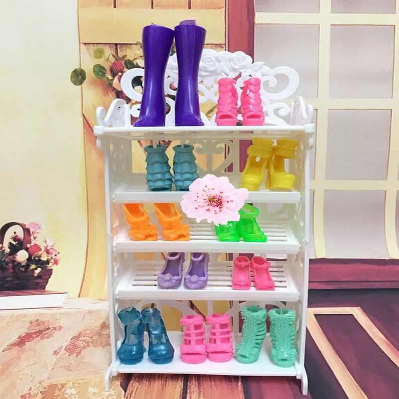 1 مجموعة جديد الدمى اكسسوارات حذاء رف أطفال هدية DIY لعب ل باربي البلاستيك