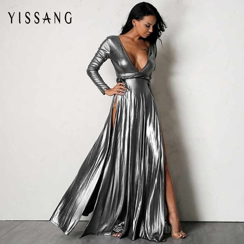 Yissang New Arrival Deep V Neck Sexy Dress 2018 Women Sexy Solid Long  Sleeve Maxi Dresses 5f4e983aafe6