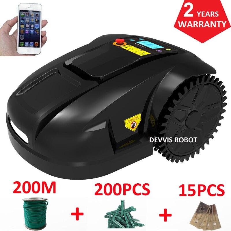 Giroscópio Smartphone APP Contorl Inteligente Robô Cortador De Grama Com Bateria Li-ion 4.4AH + 200 m de fio + 200 pcs estacas
