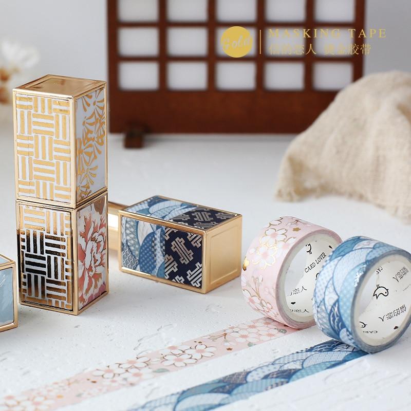 3pcs Japanese Style Romantic Foil Washi Tape Set 15mm 30mm Wave Sakura Flower Masking Tapes Decoration Diary Album Sticker F094