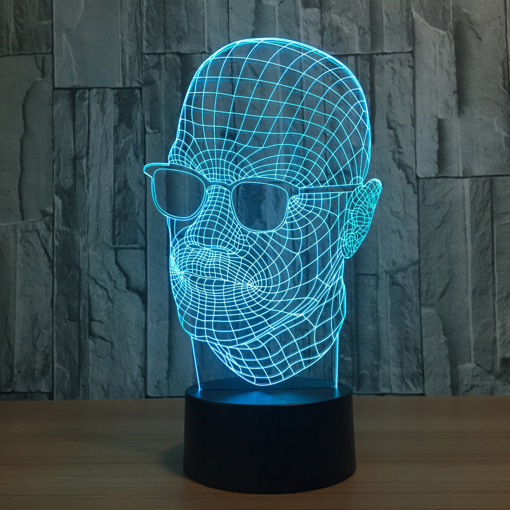 Novelty Sunglasses Man Shape 3D Night Light 7 Colors Change LED Acrylic Desk Table Lamp USB Indoor Decor Sleep Lighting Gifts 3 styles novelty lighting hockey player ice player 3d led night light touch usb lamp holiday gifts table desk light for kids