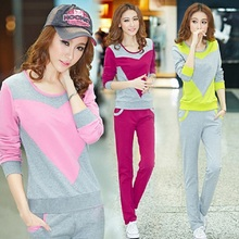 Autumn and spring 2 piecesse new Fashion women suit tracksuits casual set with a hood fleece sweatshirt t tracksuit