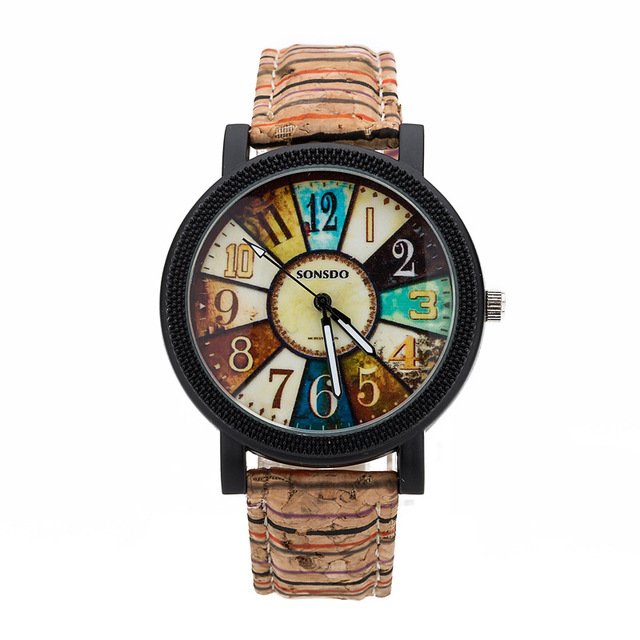 Coffee Stripe Leather Vintage Watches Women Ladies Bracelet Watch Harajuku Clock