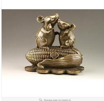 Art Bronze home decoration Folk Culture Brass Exquisite Rare Chinese Handmade Corn Mice Copper Statue