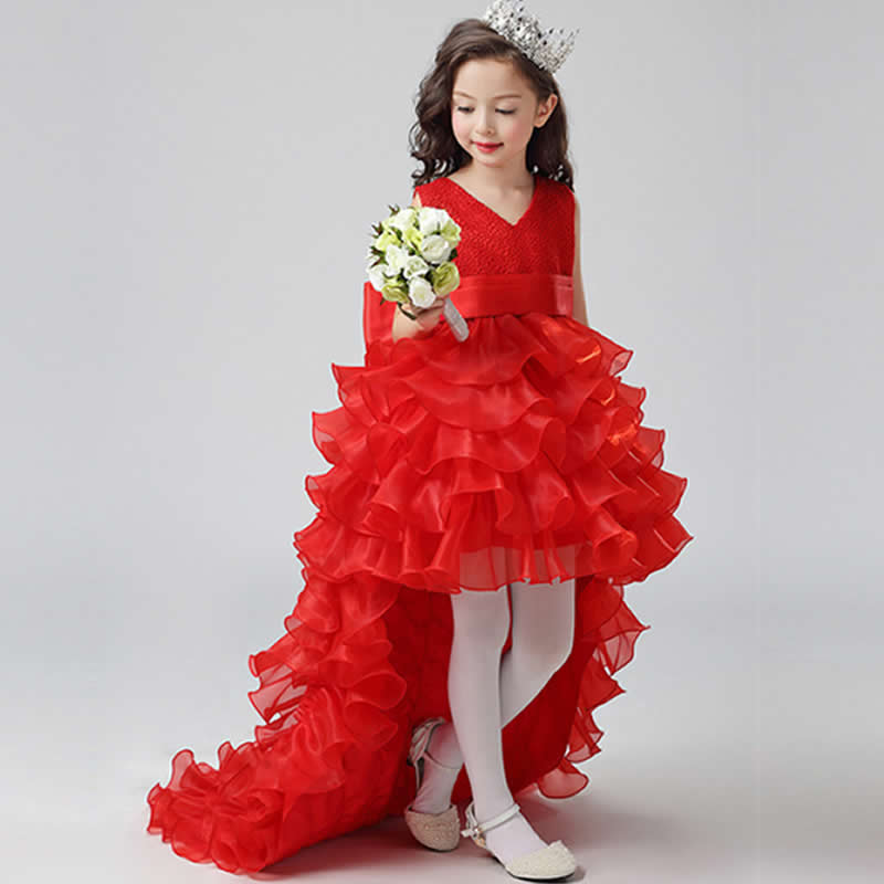 New Big Girl Dress Children Detachable Trailing Princess Dressing