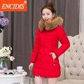 Plus size mulheres casaco de Inverno 2016 Novo Inverno Feminino Magro Casacos e Jaqueta Com Capuz de Pele parka roupas Senhora Longo M80