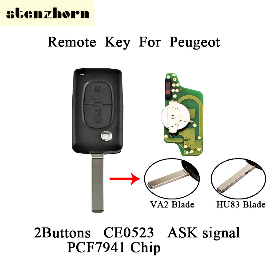Stenzhorn 433Mhz Car Remote Control Folding Key For Peugeot 207 307 308 407 807 Expert Partner CC SW CE0523 With VA2 Blade
