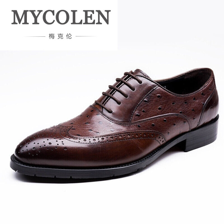 MYCOLEN New Arrival British Style Round Toe Mens Leather Shoes Fashion Wedding Party Business Brogue Shoes Chaussure Homme new british style real top cow leather boots qshoes mens business dress casual fashion men personalized round toe boot y97 663