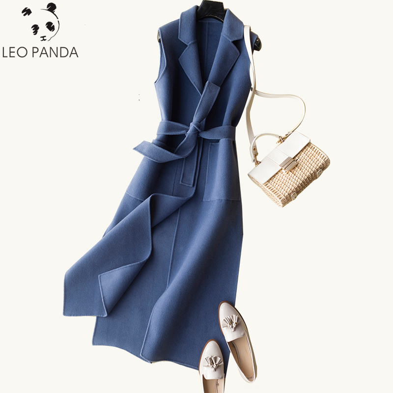 2019 Fashion Autumn Winter Women s 100 Wool Vest Coat New Female Spring Casual Solid Long