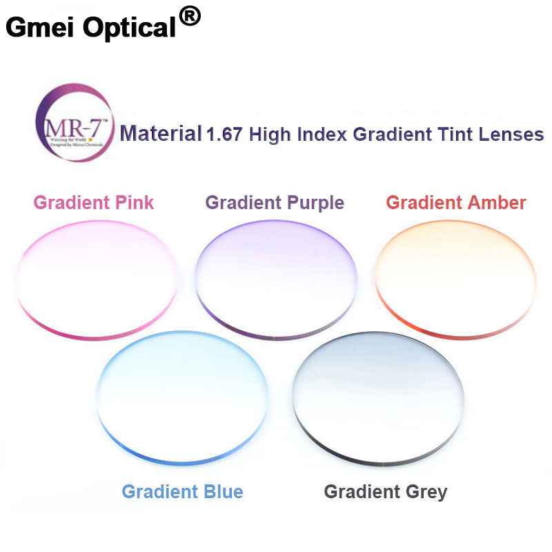 Protection contre les rayonnements 1.67 Ultra-mince MR-7 teinte dégradée très résistante HMC EMI asphère anti-uv myopie hyperopie lentilles de Prescription