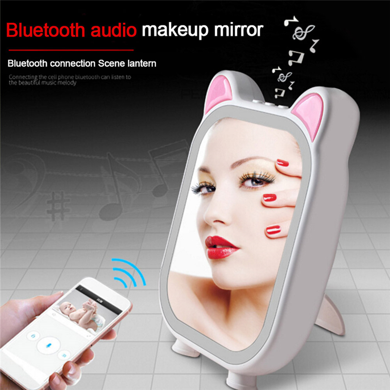 цена Cosmetic 3 Modes LED Makeup Mirrors Locking Bright Diffused Light Cosmetic Mirrors Makeup Tool with Music Bluetooth Speaker