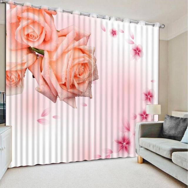 Home Window Decoration Romantic Curtain Pink Rose Curtains For Bedroom  Wedding Room 3D Printed Kitchen Curtain