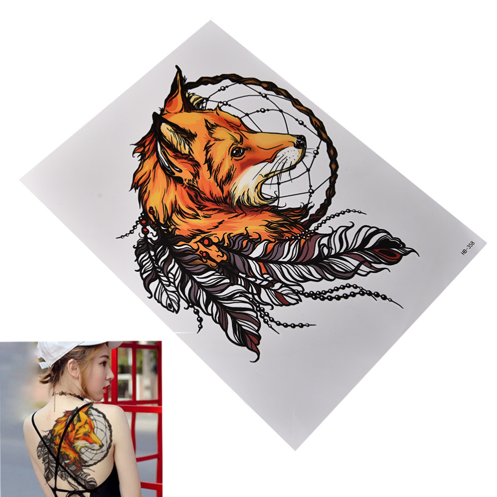 Fox Dreamcatcher Tattoo Waterproof Temporary Tattoos Stickers Flash Water Transfer Tattoos Fake Tattoos For Women Men