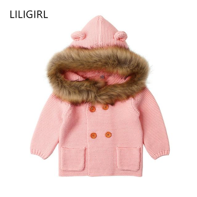 1ab5747fc LILIGIRL 2Y Baby Girls Winter Warm Clothes 2018 Fur Hooded Boys Knit ...