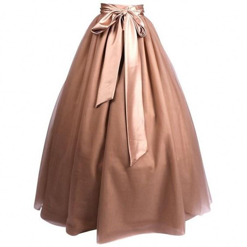 Женская длинная юбка из тюля, простая элегантная трапециевидная юбка макси в пол с поясом на талии, для взрослых