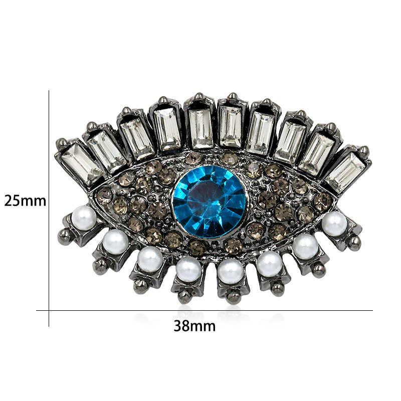 Weimanjingdian Baru Kedatangan Biru dan Hitam Kristal Berlian Imitasi Mata Bros Pin untuk Wanita