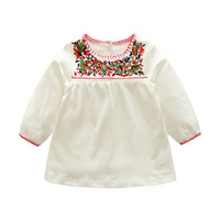 Baby Girl Dress Baby Summer Flower Embroidery Vintage Dress Baby Girl Birthday Party Dress Kids Clothing