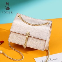 FOXER Women Female Solid High Quality Messenger Bag for Lady Small Flap Bag Gril's Evening Bags Women Temperament Crossbody Bags evening bags pearls blue beaded bride dinner bag ladies temperament chains shoulders lady female handbag great quality