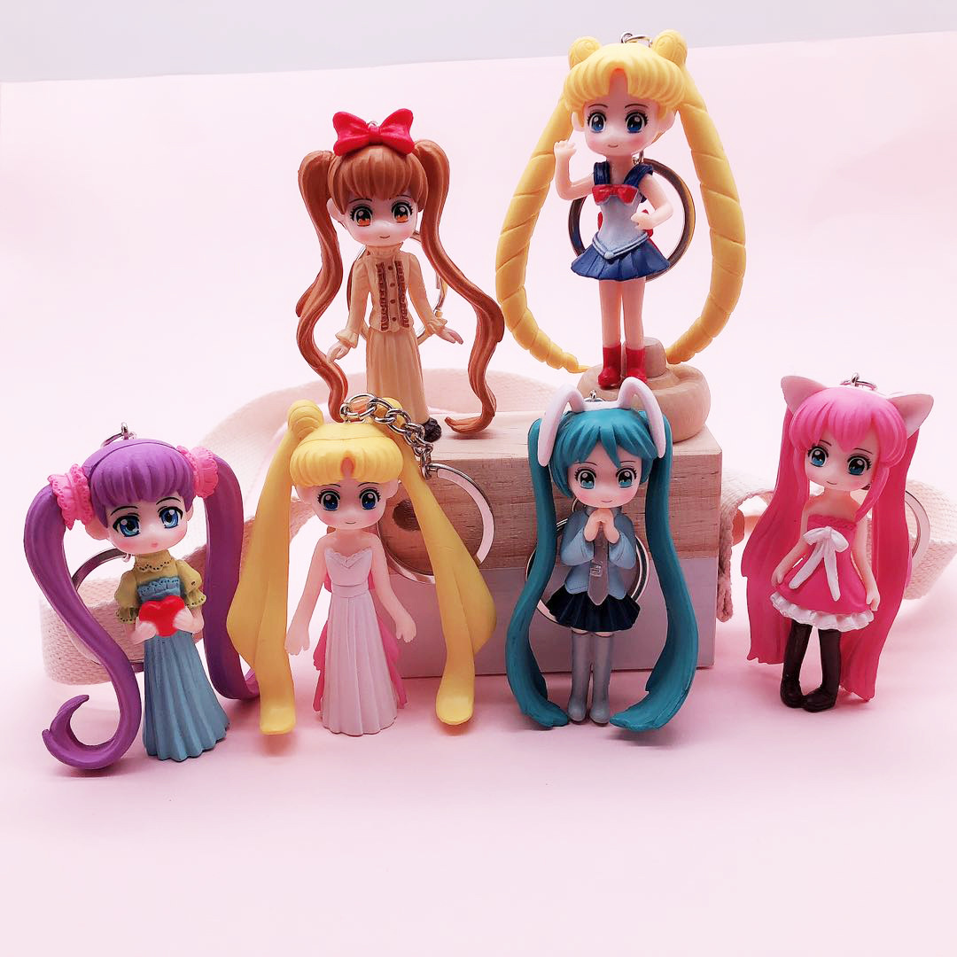 Cute Sailor Moon Tsukino Usagi Hatsune Miku Janpanese Girls Big Eye Figures PVC Action Figure Model Keychain Children Toys Dolls