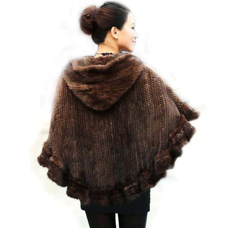 Fashion Women Fur Shawl Winter Strikket Real Mink Fur Stole Med Fur Hood Strikket Mink Poncho Pashmina Gratis Levering