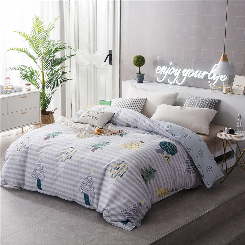Cartoon Green Leaf Pattern Bedding 100% Cotton Soft Duvet Cover Full Queen Size Quilt Case Duvet Covers King Size 220x240cm Size