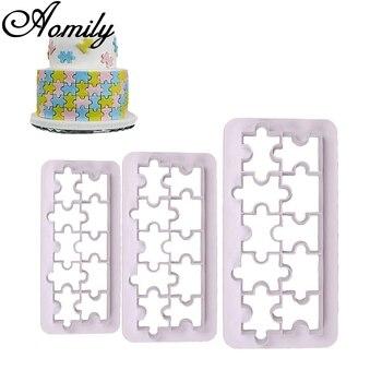 Aomily 3 stks/set Puzzel Mold Cake Cutter Suiker Ambachtelijke Tiara Fondant Icing Snijden Cake Cookies Tool voor Decoratie Bakken