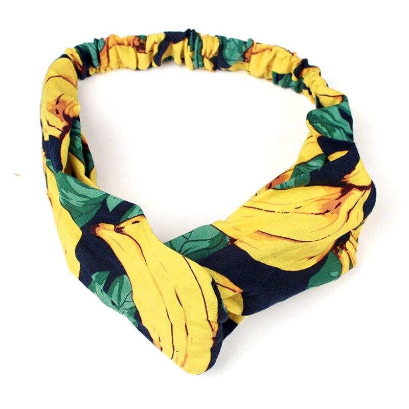 Fabric Women Fashion Fruits Headbands Banana Lemon Patterns Head Wrap Women Girls Hair Band Accessories Elastic Headbands, 1 PC ...