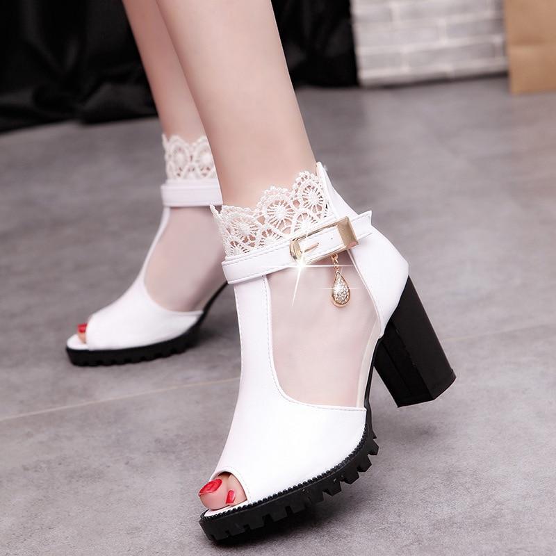 Femme Blanc Talon Femmes Talons D'été Sandales 2019 Dames blanc Peep Chaussures Cm A686 8 Noir Noir Haute Toe Carré PqxzdwOq