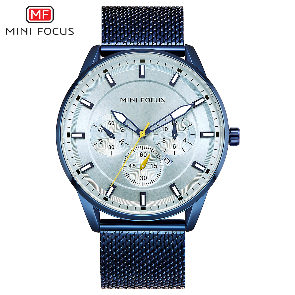 MINIFOCUS Trendy Men Wrist Watch Stainless Steel Mesh Strap Clock For Mens Blue Black Luminous Waterproof Chain Watches Gents minifocus stylish sport mens watches seiko chronograph wristwatch for men popular black and blue silicone chain clock male