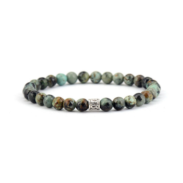 6mm African Stones With Antique Charm Bead Bracelets Beaded Boho Stretch Bangles Yoga Jewelry Dropshipping