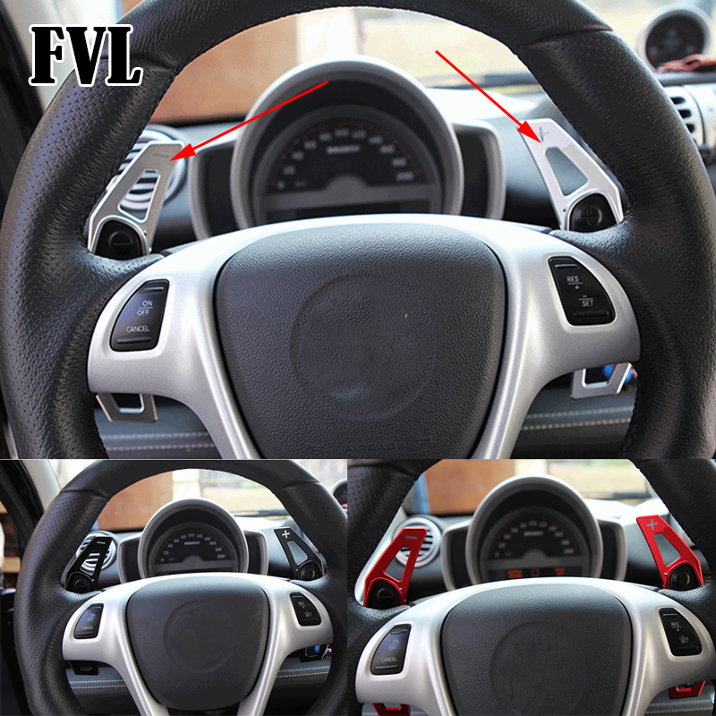 FVL Aluminum Alloy Steering Wheel Shift Paddle Extension Shifters Replacement For Mercedes Benz Smart Fortwo Forjeremy Forfour aluminum alloy 25t steering servo horn
