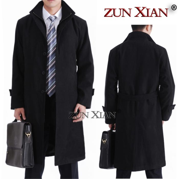 2017 New Fashion Men Trench Coats Long Slim Fashion Styish cotton men trench 4XL for 4 colors!!