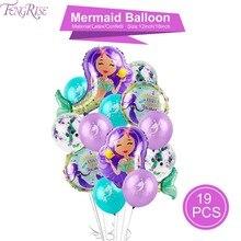 FENGRISE Cartoon Mermaid Balloons Confetti Air Ballons Wedding Baloons Kids Birthday Party Decorations Baby Shower Supplies стоимость