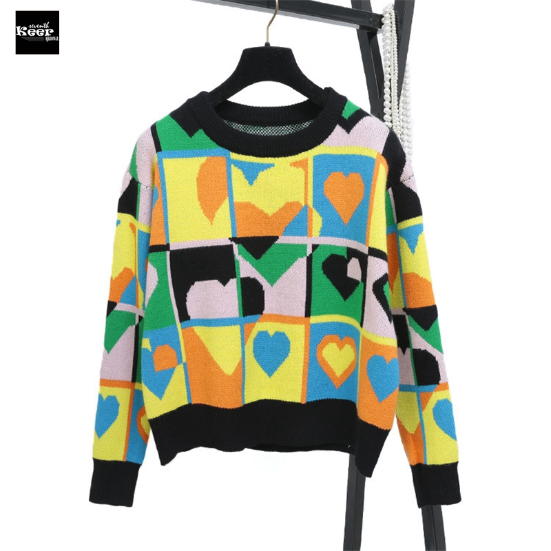 2018 New Knit Pullover Sweater Women Runway Designer Casual Heart Plaid Pattern Color Block Winter Basic Knitwear Jumpers Tops