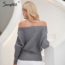 Simplee Off shoulder sexy elastic knitting pullover female Bat long sleeve