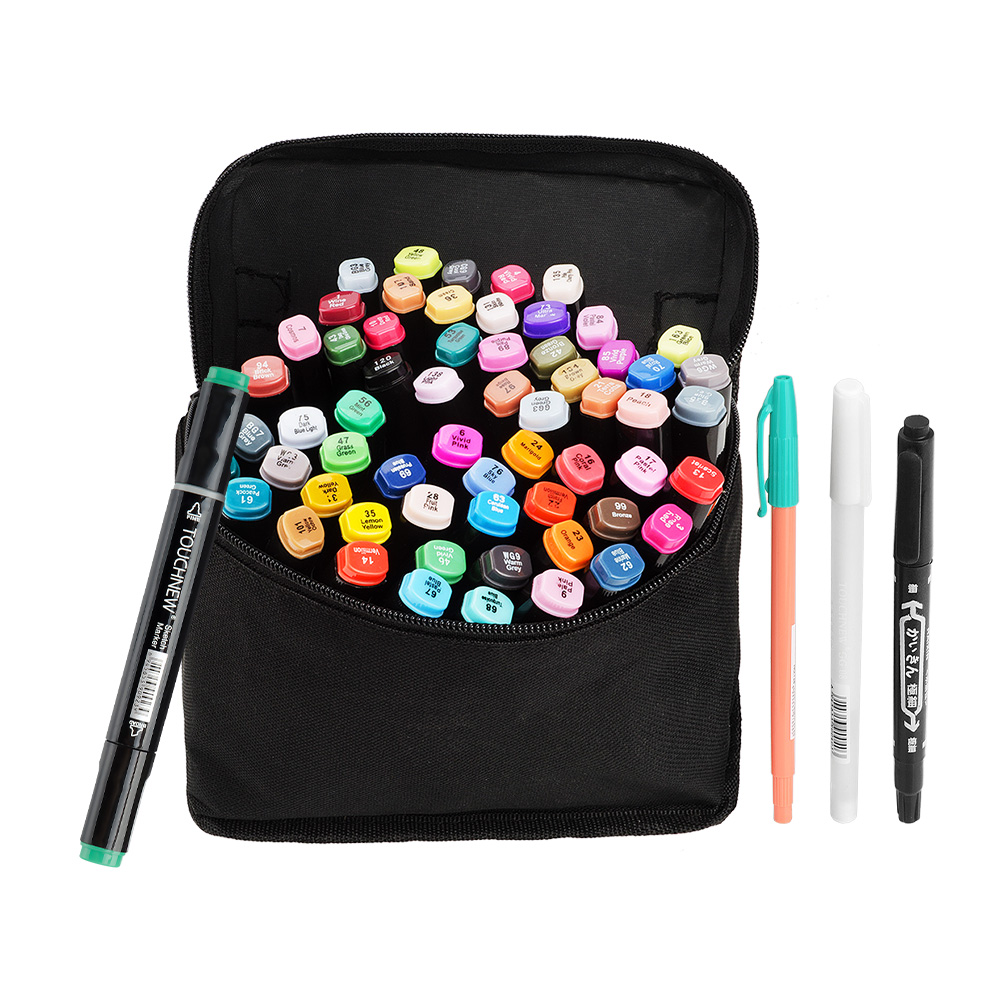 TOUCHNEW Black Body 60 Colors Set Artist Dual Head Sketch Marker Pen Set For School Drawing Design + Carry Bag touchnew 60 colors artist dual head sketch markers for manga marker school drawing marker pen design supplies 5type