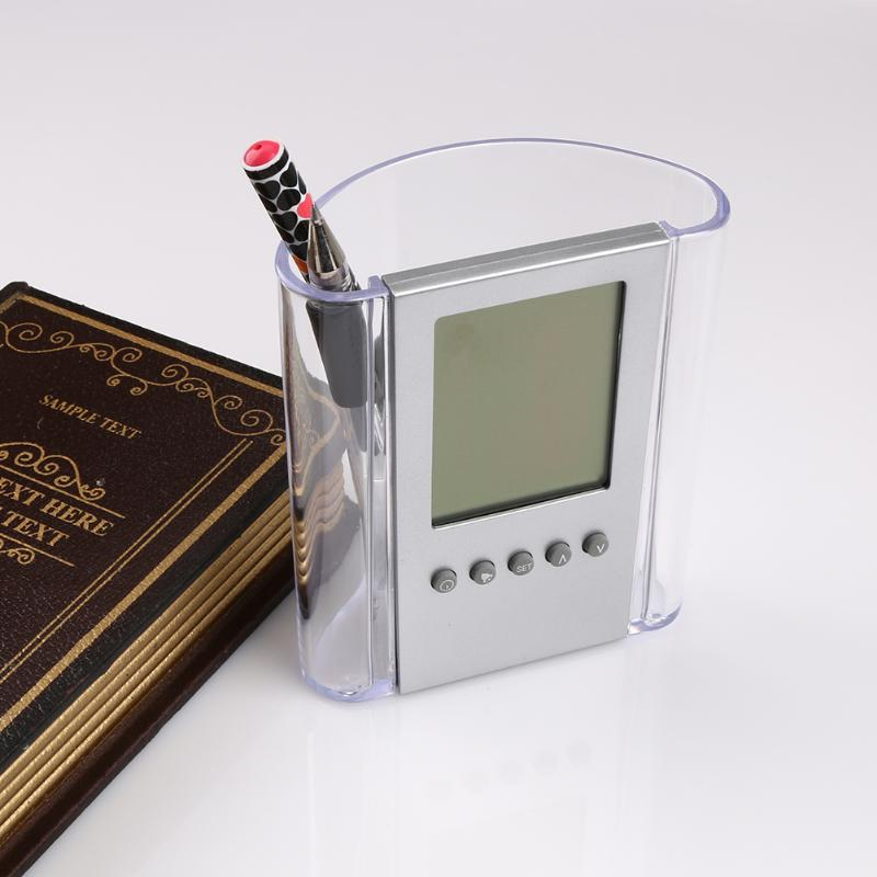 Transparent LCD Desk Pen Holder Pencil Container with Calendar Timer Alarm Clock Temper ...