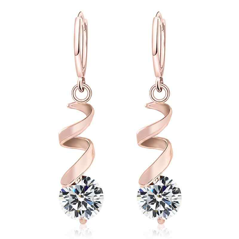MISANANRYNE Nice Shipping Women's 4 Colors CZ Fashion Gold Color Dangle Drop Earrings Jewelry Gift