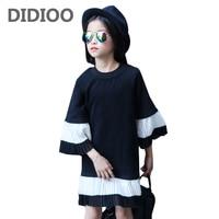 Children Pleated Dresses For Girls Vestidos Long Sleeve Kids Birthday Party Dress 2 3 5 7