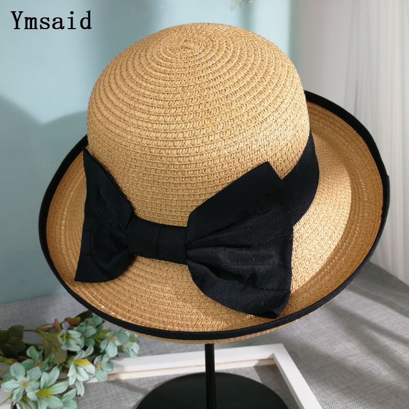 ca92cecd7 US $7.57 42% OFF|Summer Straw Hat Women Big Wide Brim Beach Hat Curling Sun  Hat Foldable Sun Block UV Protection Panama Hat Bone Chapeu Feminino-in ...